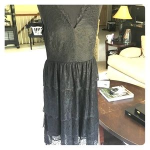 Boston Proper black lace tiered dress new with tag